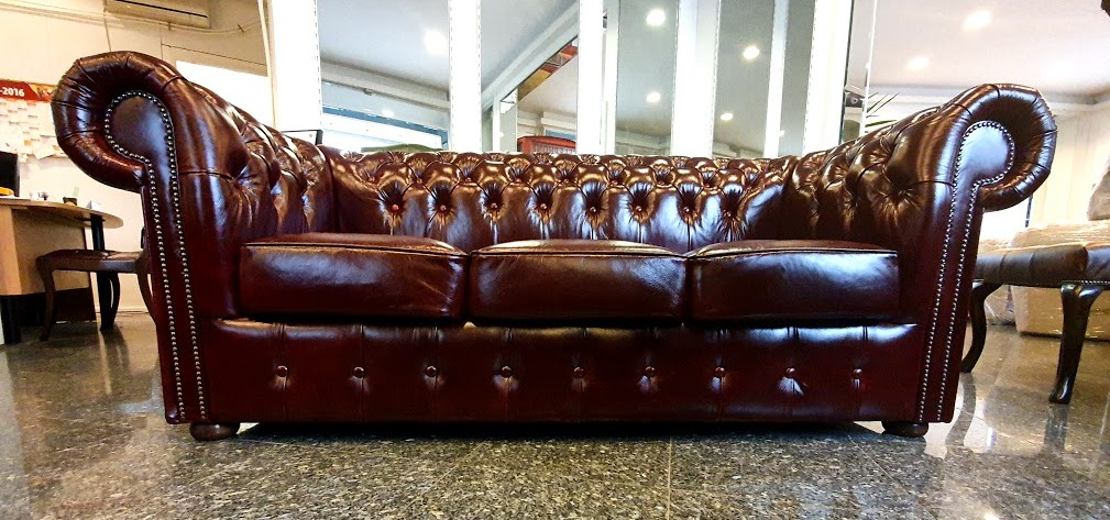 Chesterfield Classic 3-as Vintage bordo bőrkanapé Bruttó: 635.00